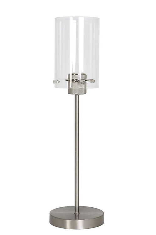 Satin Nickel and Glass Table Lamp