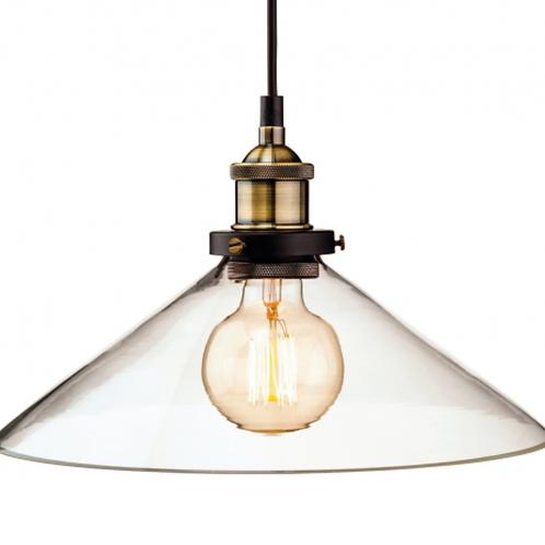Glass & Antique Brass Pendant Light