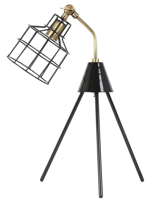Black and Antique Bronze Tripod Table Lamp