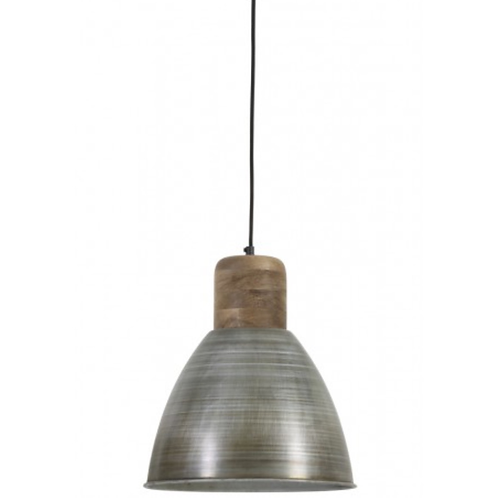 Wood and Antique Silver Pendant Light