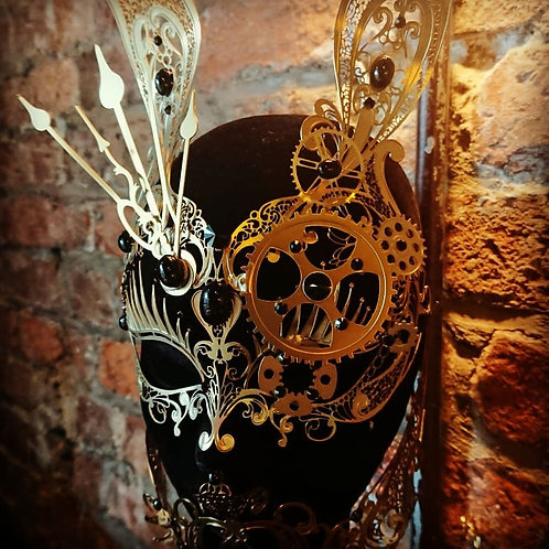 Steampunk Bunny Bronze Mask with Black Gems