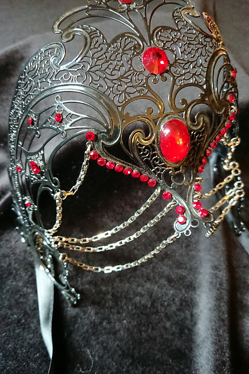 Coroncina Mask/Headpiece with Chains and Red Swarovski Crystals