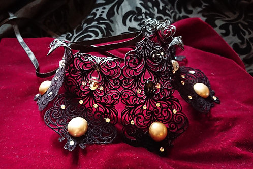 Collier Tiara BLACK VELVET AND CRYSTALS