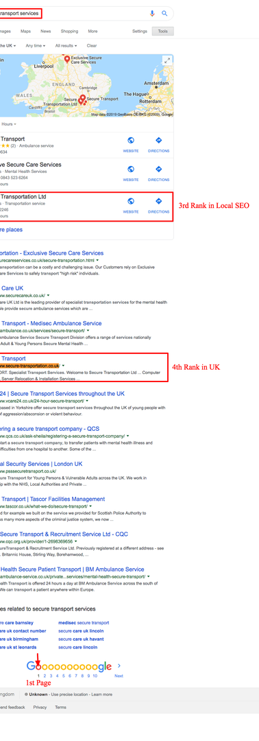 Transport services UK based Company's SEO