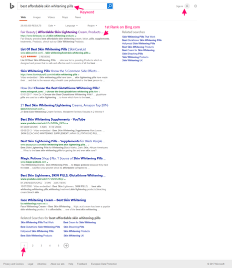 Bing 1st Page Ranking Proof