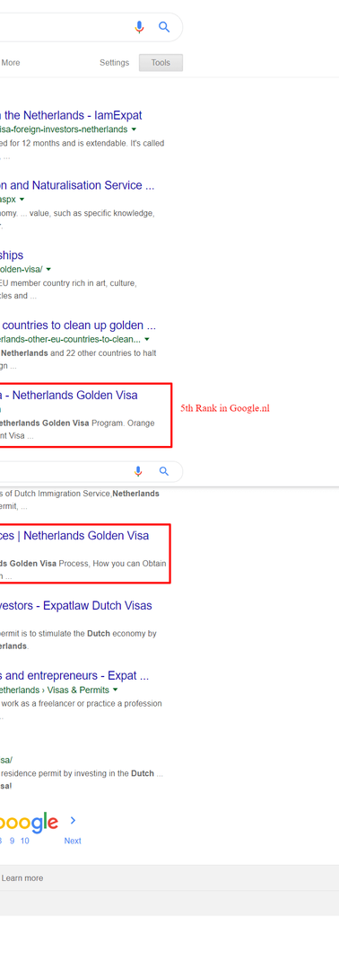 Netherlands based Visa Consulting Wix SEO