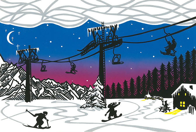 Alpine Antics original linocut print
