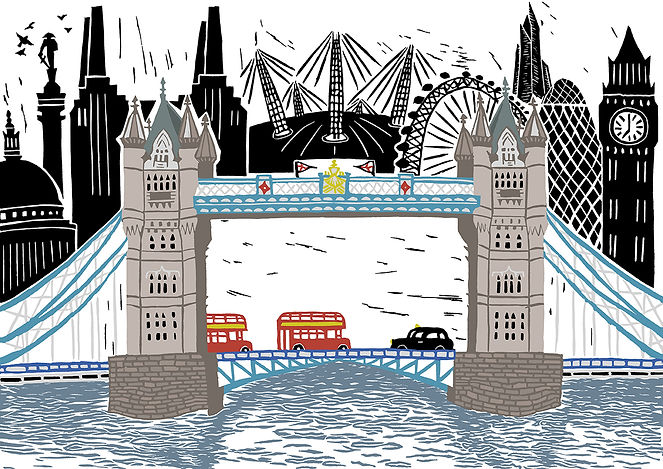 London Scene original linocut print