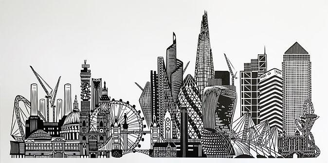 London Landmarks original linocut print