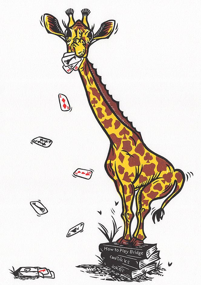 Joking Giraffe original linocut print