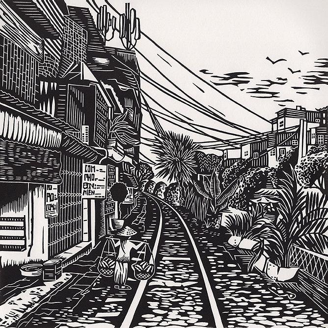 Train Tracks original linocut print