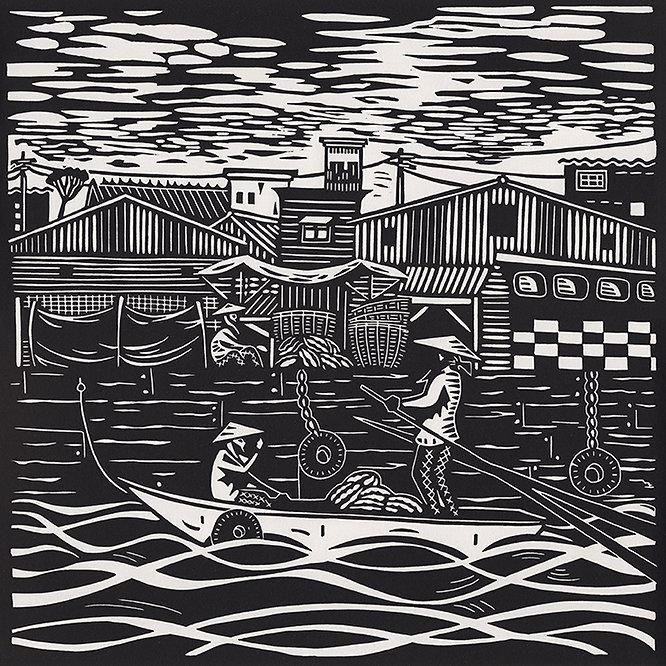 Floating Market original linocut print