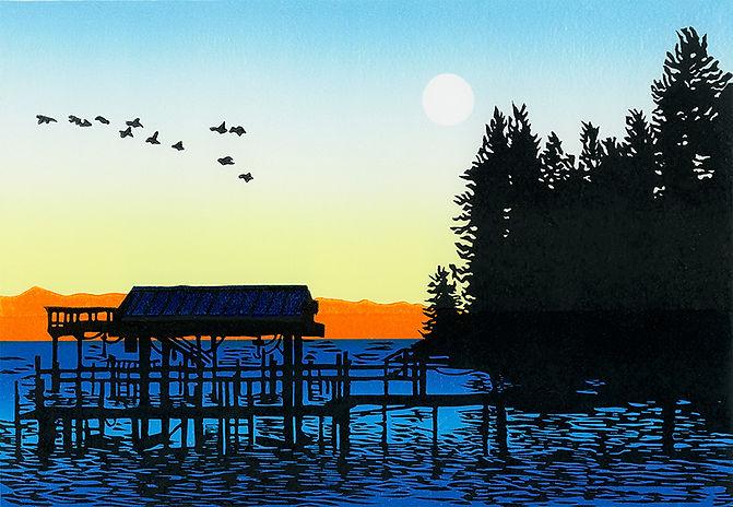 Lake Tahoe original linocut print