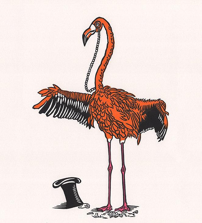 Fabulous Flamingo original linocut print