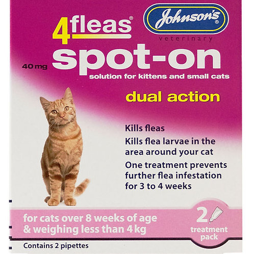 Johnsons 4fleas Dual Action Spot On for Cats under 4kg
