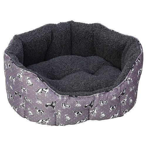 House of Paws Polka Oval Snuggle Dog Bed - Grey
