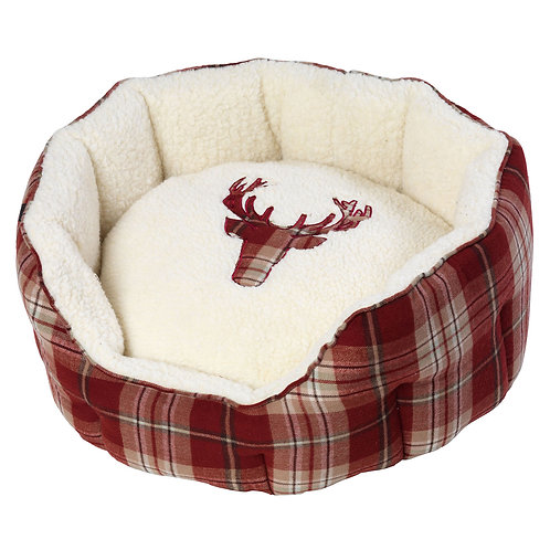 Rustic Tweed Oval Dog Bed - Red