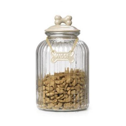 House of Paws Glass Treat Jar - Cream