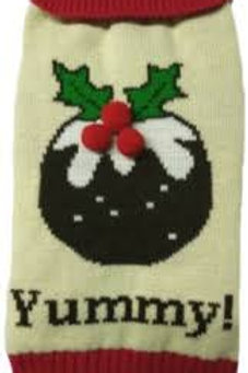 Xmas Pudding Dog Jumper with Button Collar