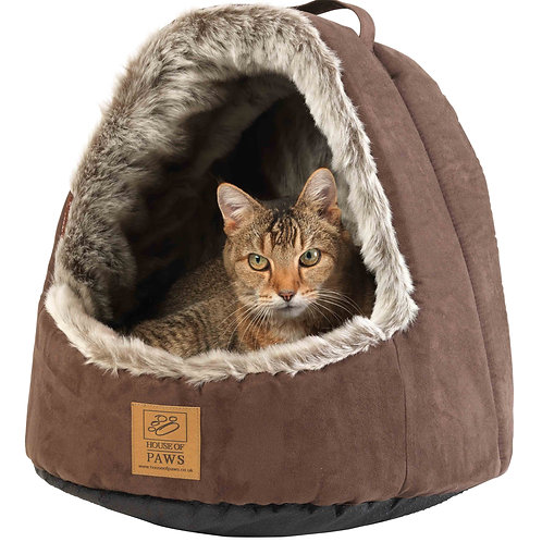 Faux Arctic Fox Hooded Cat Bed