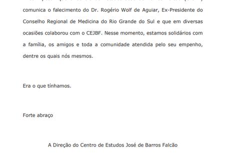 Nota de Pesar - Dr. Rogério Wolf de Aguiar