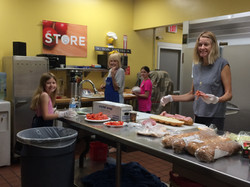 2018 Jun 2 - Rummage Setup - Kitchen - S Field, daughter, granddaughters - 1