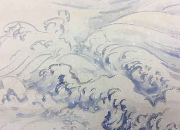 raseki koike nihonga landscape painting detail-7