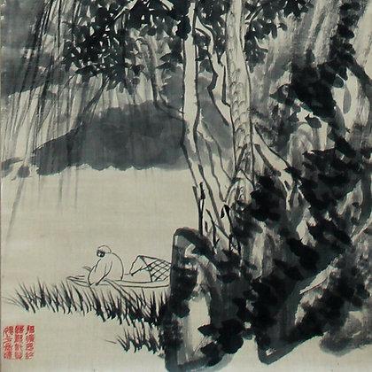 yamanaka shinten'o literati nanga landscape painting detail-2