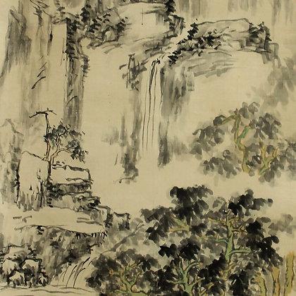 tanaka kaibi nanga landscape waterfall painting
