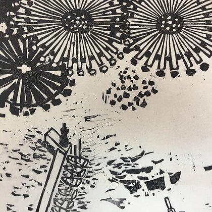 Inui Tai woodblock modern hanga summer matsuri festival Murotsu detail-13
