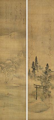 otagaki rengetsu mori kansai painting pair poem