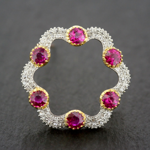 Edwardian Ruby Brooch