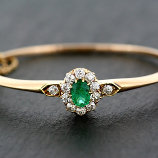 Antique Emerald & Diamond Bangle