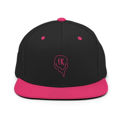 Black Pink Outline Smiley Snapback Hat