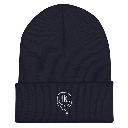 Navy Outline Smiley Cuffed Beanie