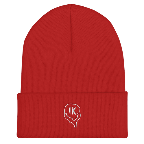 Red Outline Smiley Cuffed Beanie