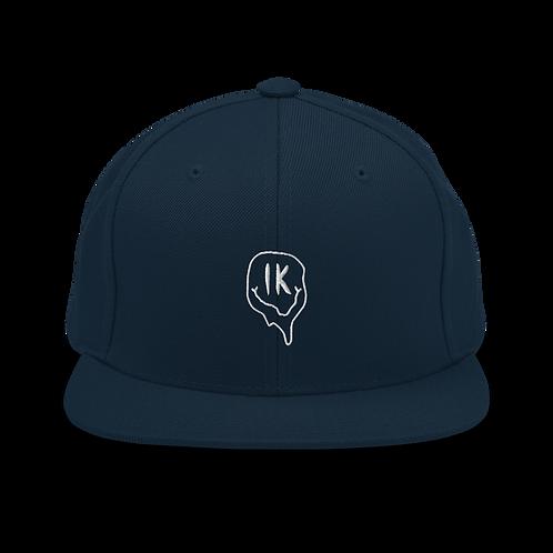 Navy Outline Smiley Snapback Hat