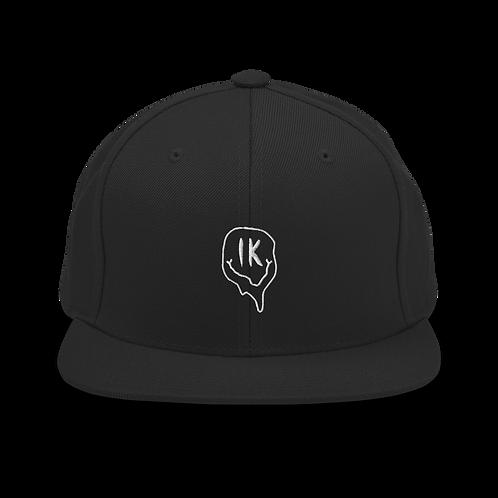 Black Outline Smiley Snapback Hat