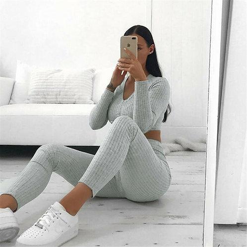 Women Knitted Lounge Wear Sets 2pcs Crop Top