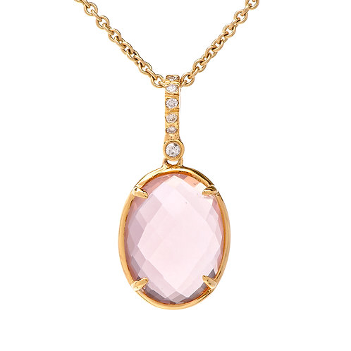Rose Quartz Oval Pendant Necklace