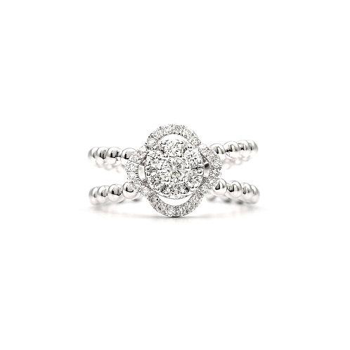 Round Illusion Setting Diamond Ring
