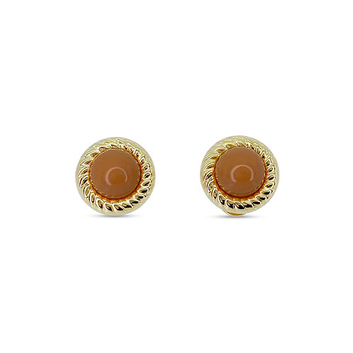 Round Coral Cabochon Earrings