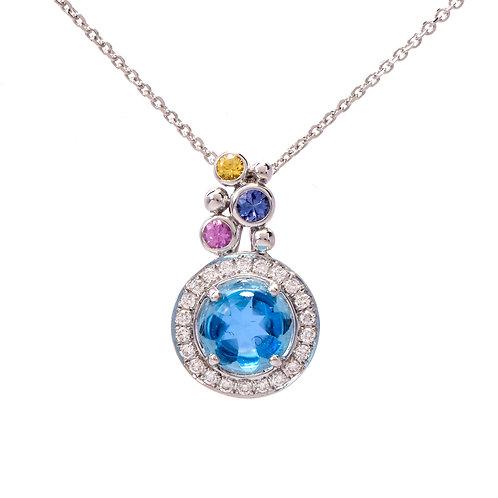 Blue Topaz Round Necklace