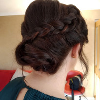 Asymetrical plait for this bridesmaid.