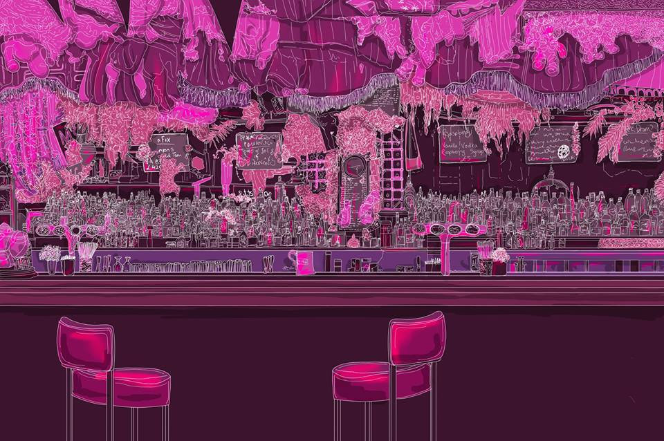Illustration of Paradise Palms dive bar. Illustration by Sarah Dargie