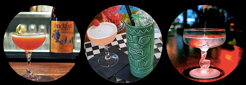 Buckfast Daiquiri, Zombie, coupe, cocktails, tiki glass, dirty martini