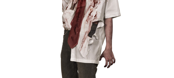 Creepy zombie man with bloody face