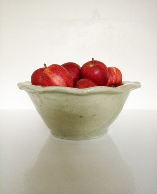 Coiled stoneware fruit bowl