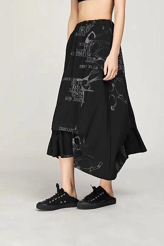 圖文長裙 (黑/白)