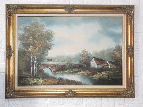 Huile sur toile ancienne encadrée - signée- grand format- 50's
